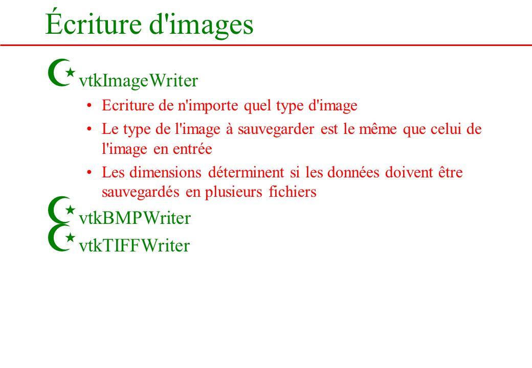 Écriture d images vtkImageWriter vtkBMPWriter vtkTIFFWriter