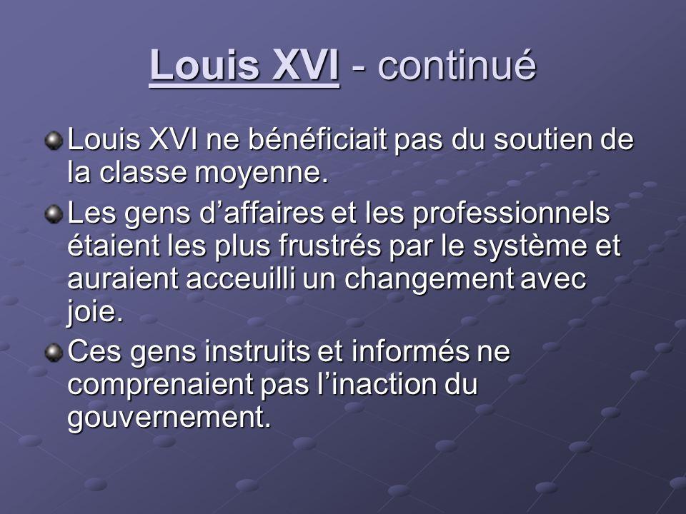 Louis XVI - continué Louis XVI ne bénéficiait pas du soutien de la classe moyenne.