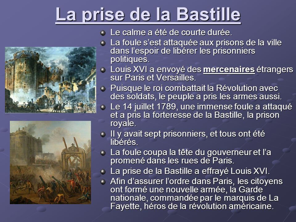 La prise de la Bastille Le calme a été de courte durée.