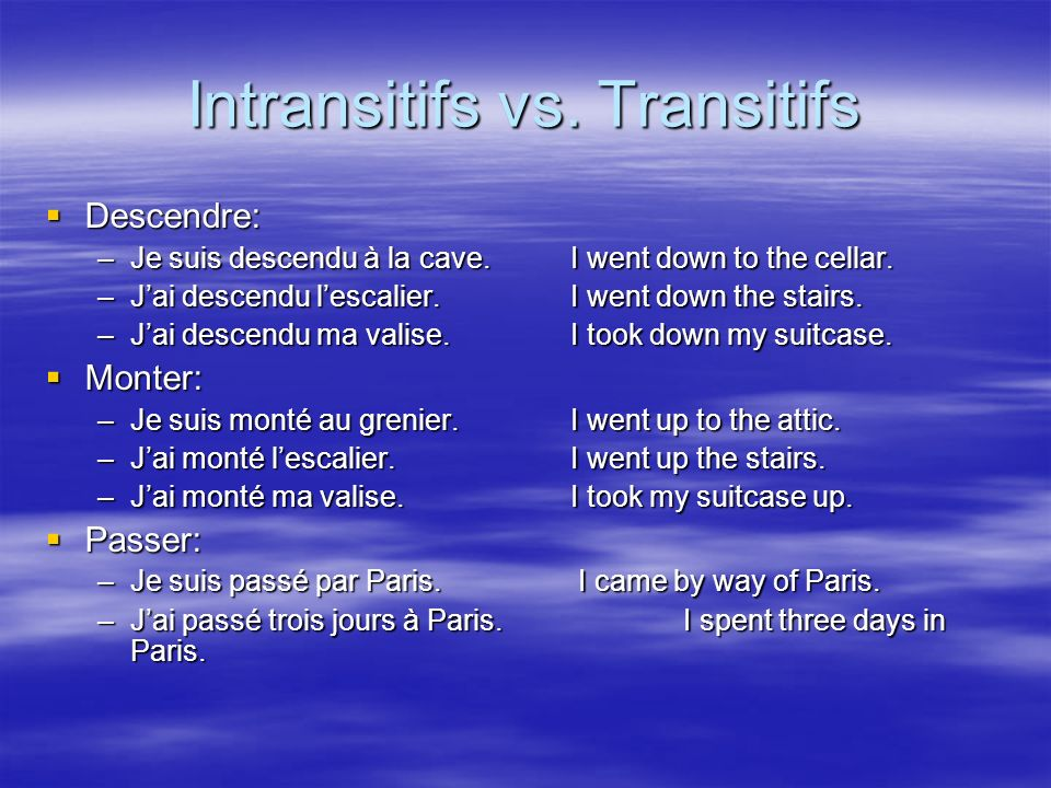Intransitifs vs. Transitifs