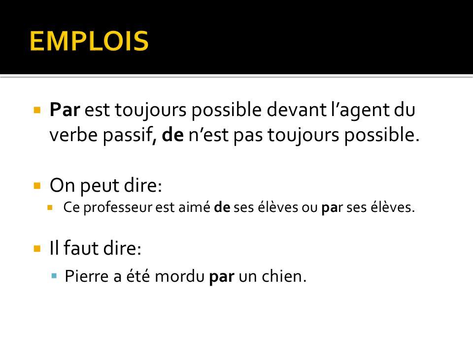 EMPLOIS Par est toujours possible devant l'agent du verbe passif, de n'est pas toujours possible. On peut dire: