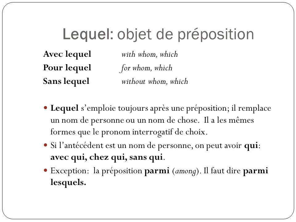 Lequel: objet de préposition