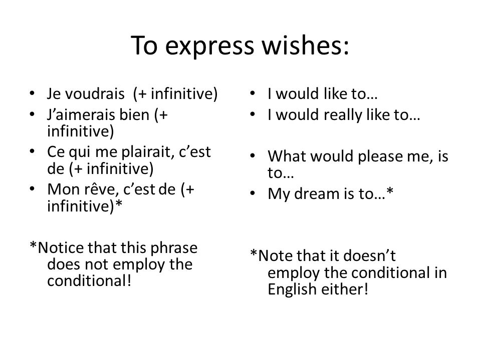 To express wishes: Je voudrais (+ infinitive)