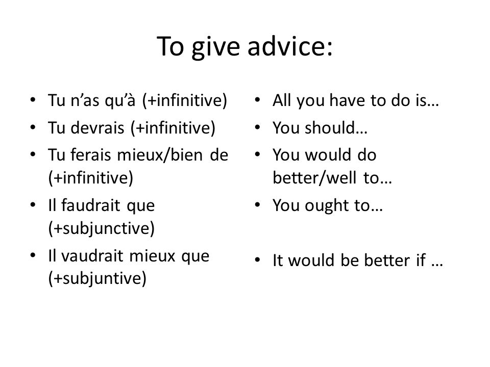 To give advice: Tu n'as qu'à (+infinitive) Tu devrais (+infinitive)
