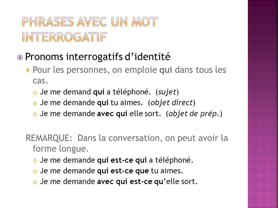 Pronoms interrogatifs d'identité