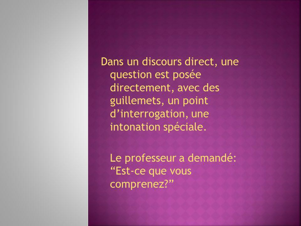 Dans un discours direct, une question est posée directement, avec des guillemets, un point d'interrogation, une intonation spéciale.