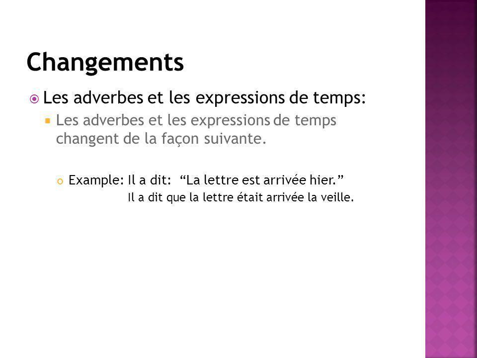 Changements Les adverbes et les expressions de temps: