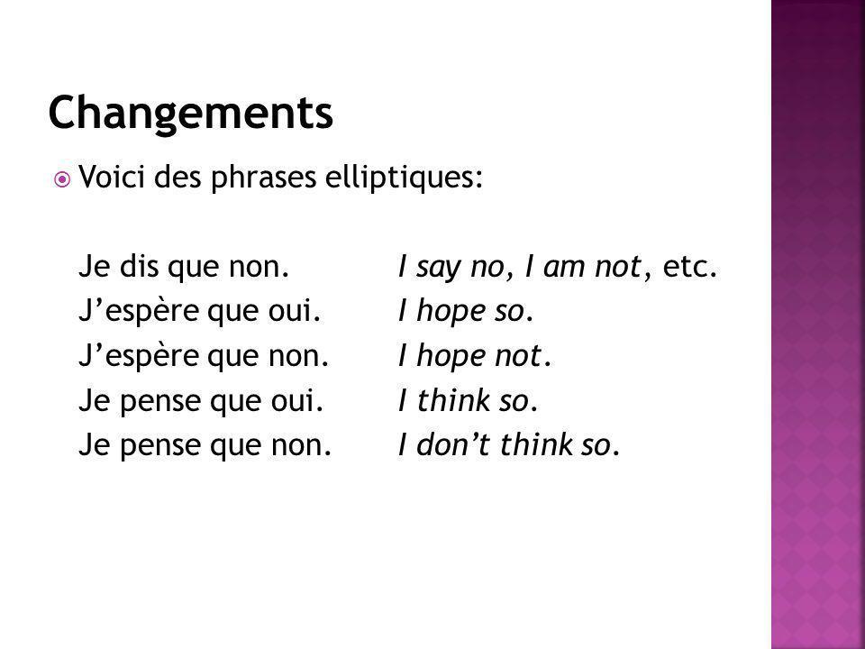Changements Voici des phrases elliptiques: