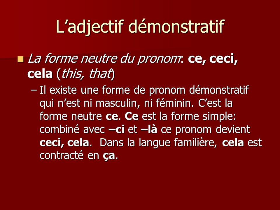 L'adjectif démonstratif