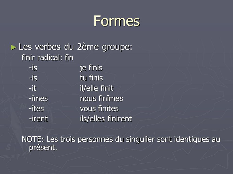 Formes Les verbes du 2ème groupe: finir radical: fin -is je finis