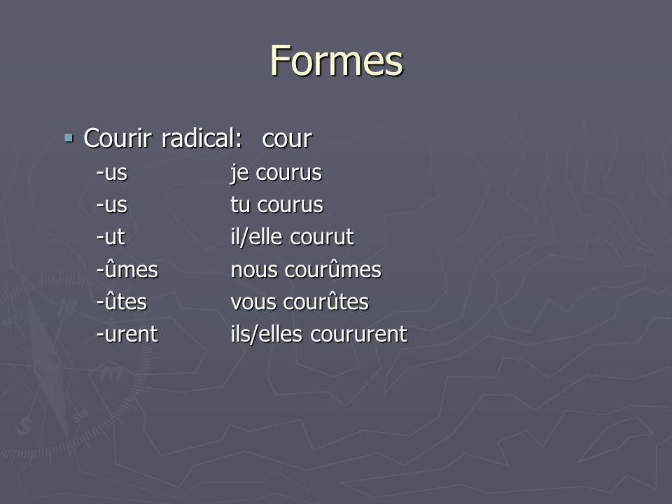 Formes Courir radical: cour -us je courus -us tu courus