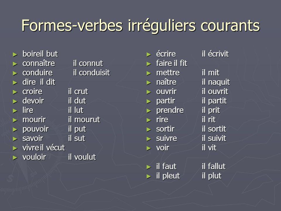 Formes-verbes irréguliers courants
