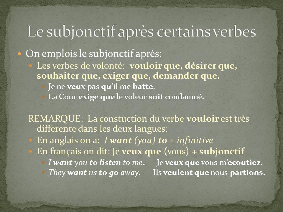 Le subjonctif après certains verbes