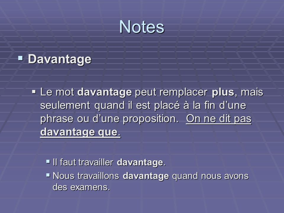 Notes Davantage.