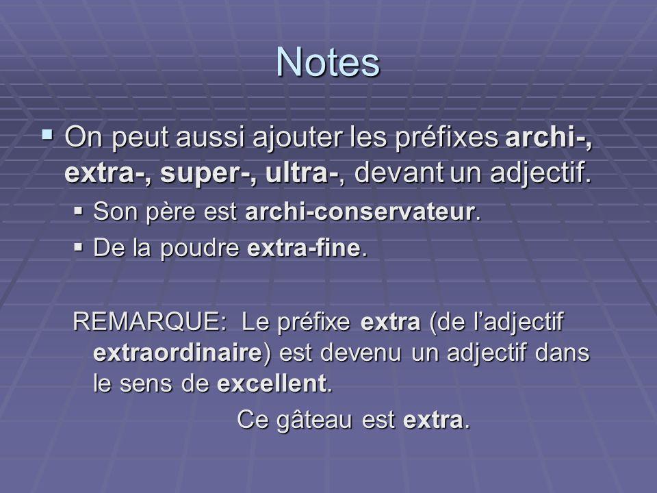 Notes On peut aussi ajouter les préfixes archi-, extra-, super-, ultra-, devant un adjectif. Son père est archi-conservateur.