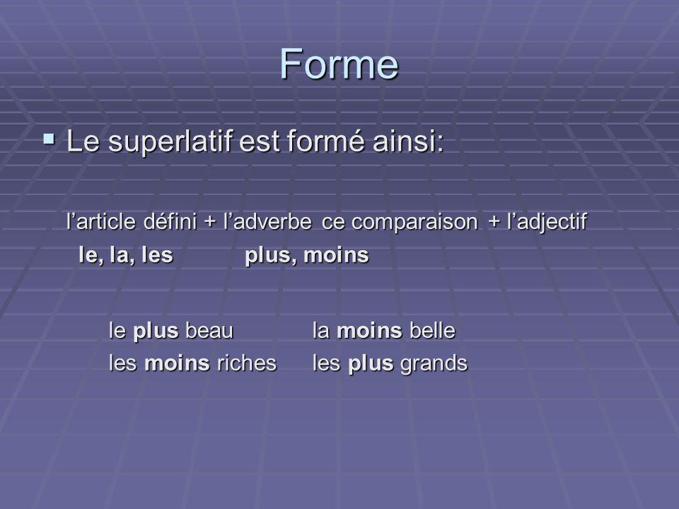 Forme Le superlatif est formé ainsi: