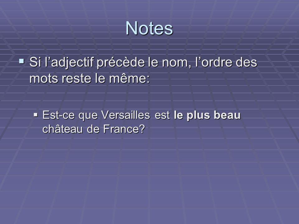 Notes Si l'adjectif précède le nom, l'ordre des mots reste le même: