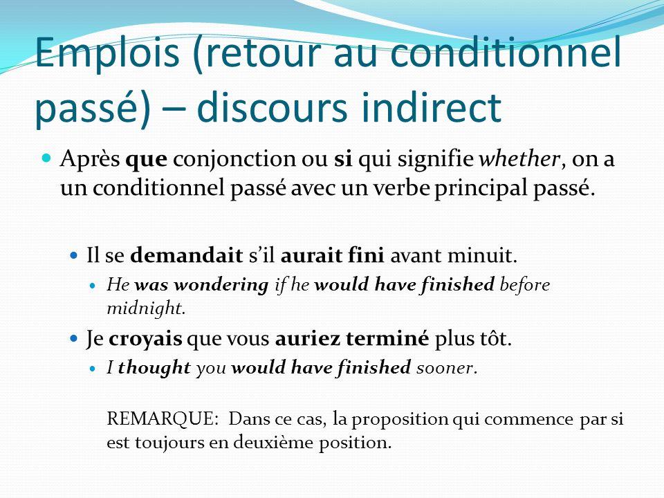 Emplois (retour au conditionnel passé) – discours indirect