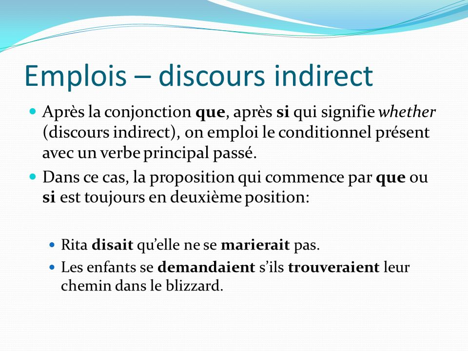 Emplois – discours indirect
