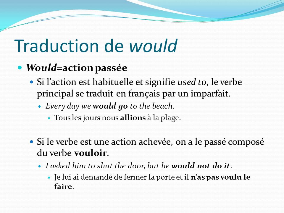 Traduction de would Would=action passée