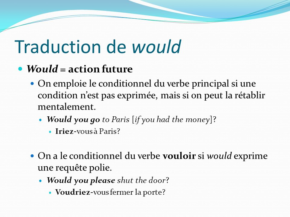 Traduction de would Would = action future