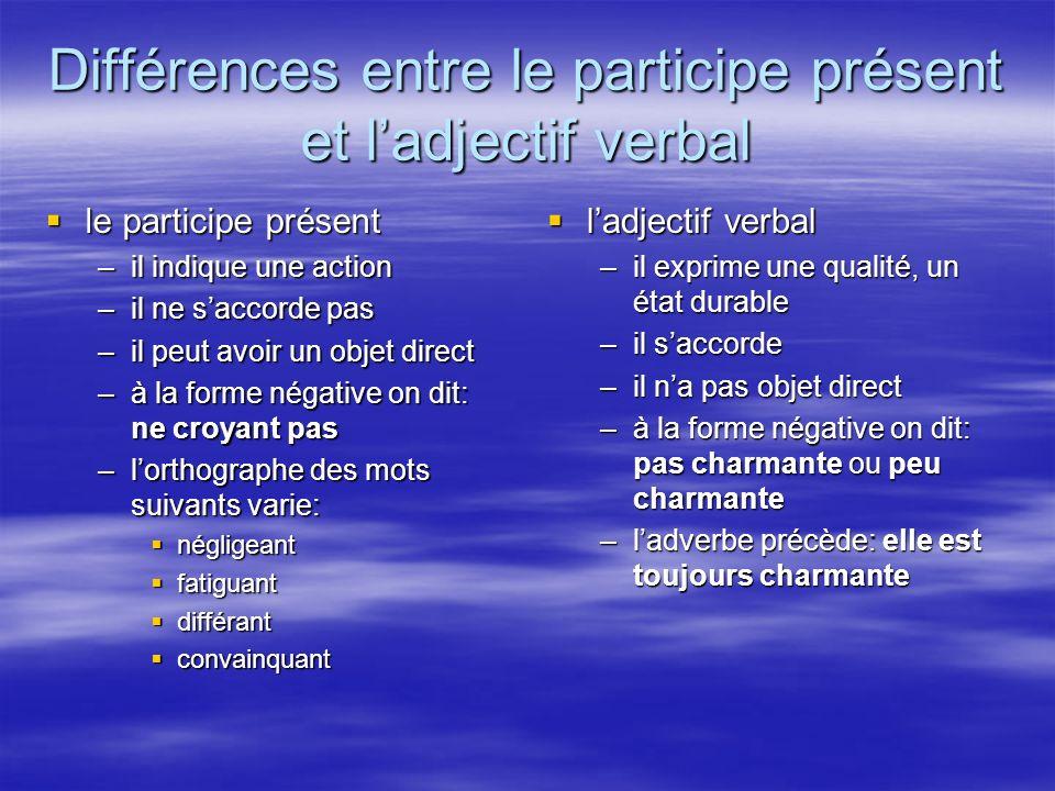 Différences entre le participe présent et l'adjectif verbal