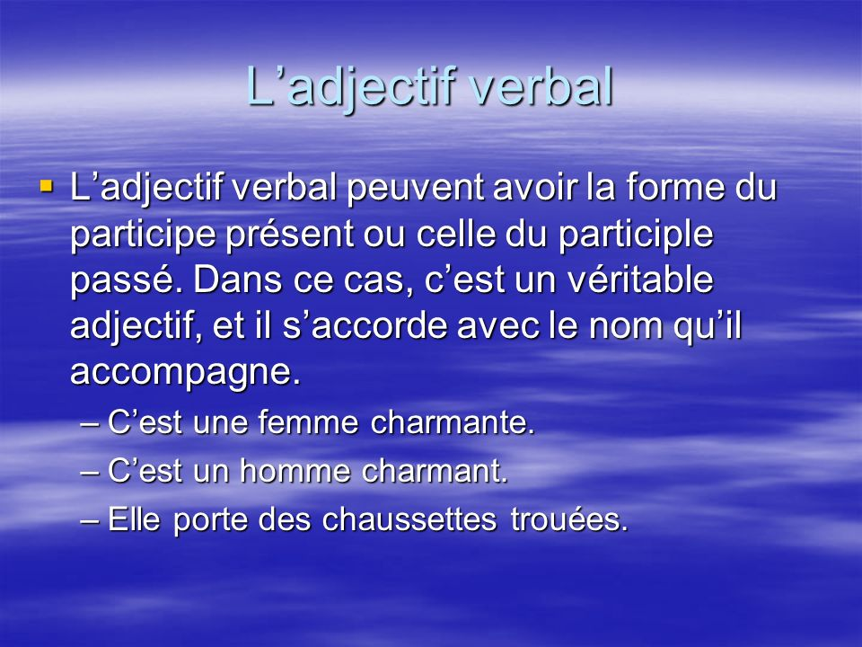 L'adjectif verbal
