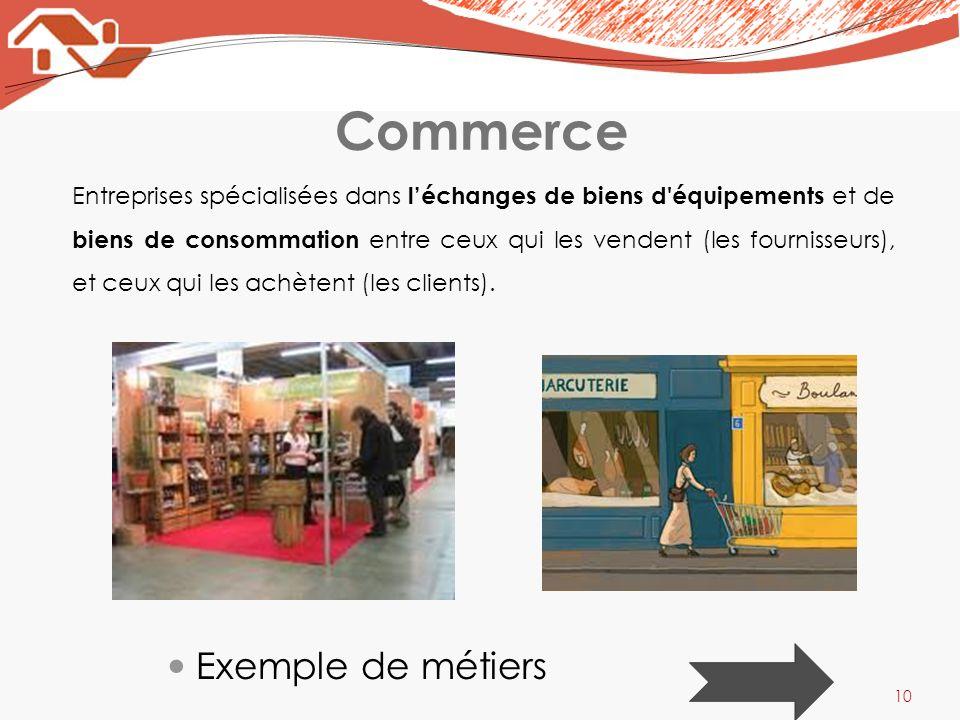 Commerce Exemple de métiers