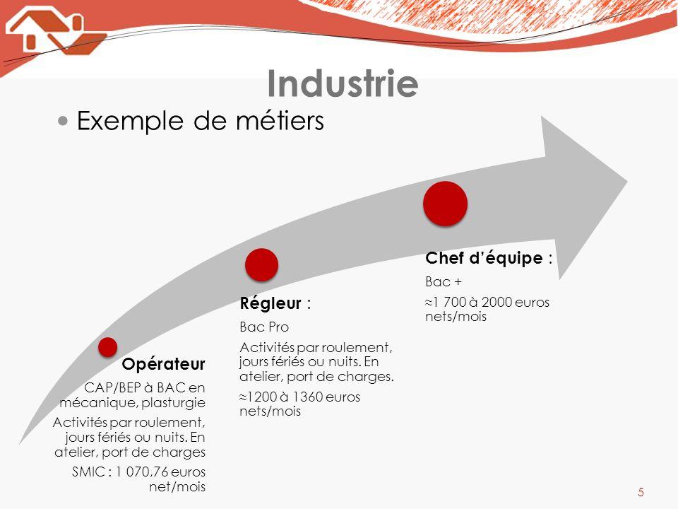 Industrie Exemple de métiers Opérateur Régleur : Chef d'équipe :