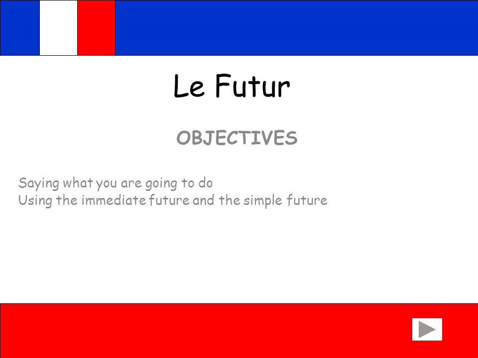 Le Futur OBJECTIVES Saying what you are going to do