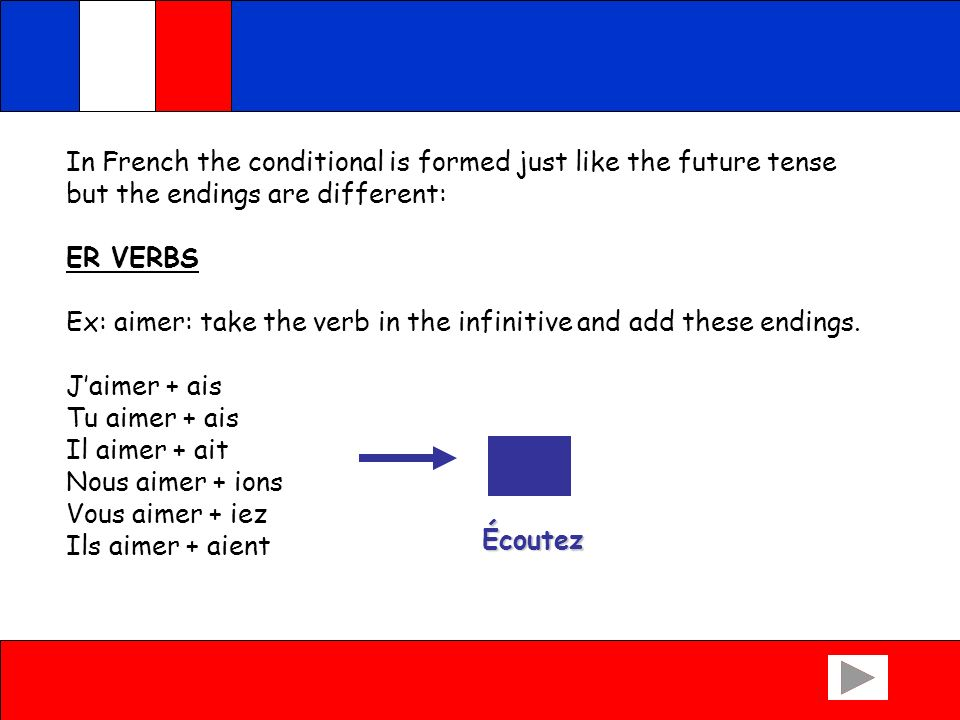 In French the conditional is formed just like the future tense but the endings are different: