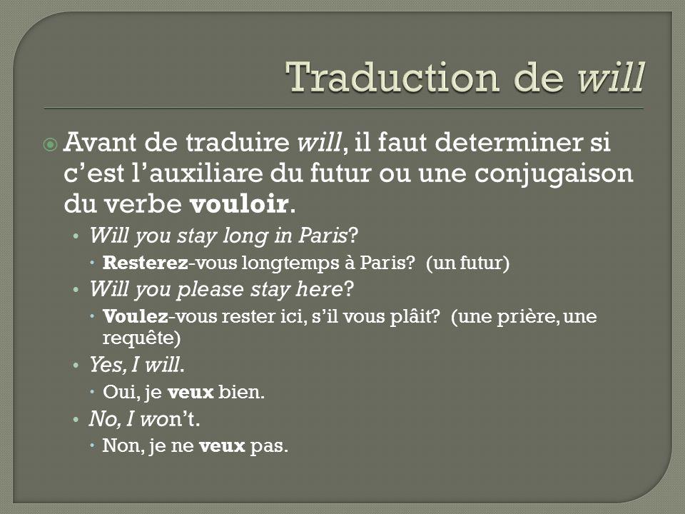 Traduction de will Avant de traduire will, il faut determiner si c'est l'auxiliare du futur ou une conjugaison du verbe vouloir.
