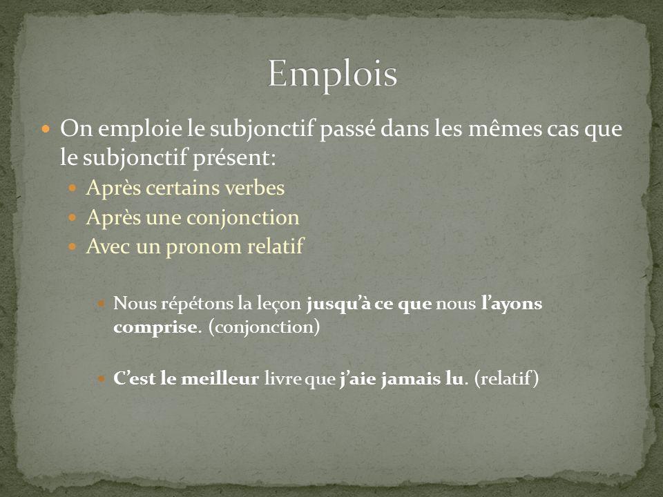 Emplois On emploie le subjonctif passé dans les mêmes cas que le subjonctif présent: Après certains verbes.
