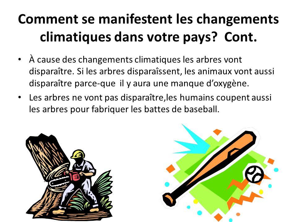 Comment se manifestent les changements climatiques dans votre pays