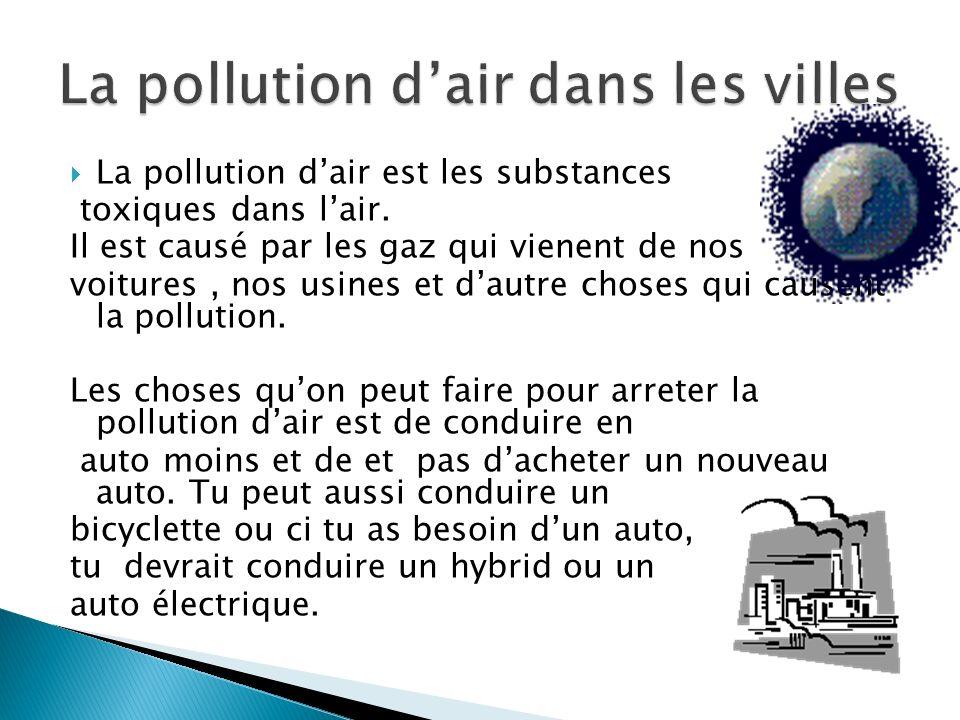 La pollution d'air dans les villes