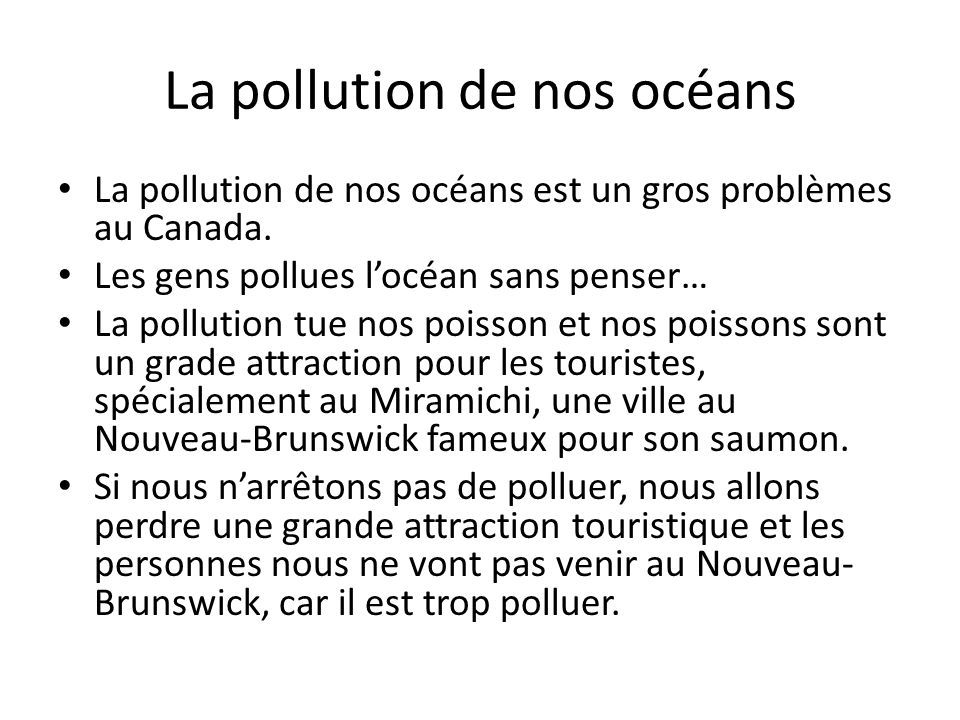 La pollution de nos océans