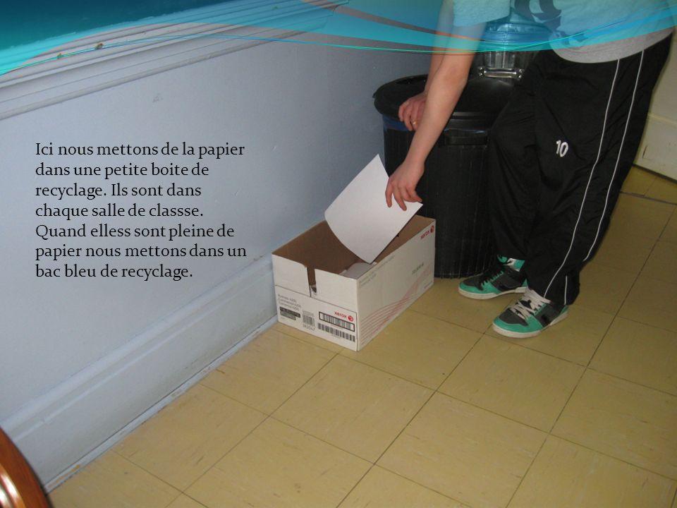 Ici nous mettons de la papier dans une petite boite de recyclage