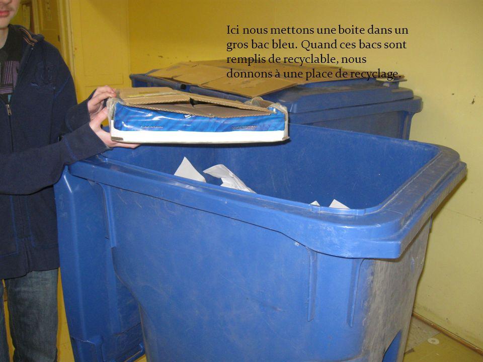 Ici nous mettons une boite dans un gros bac bleu