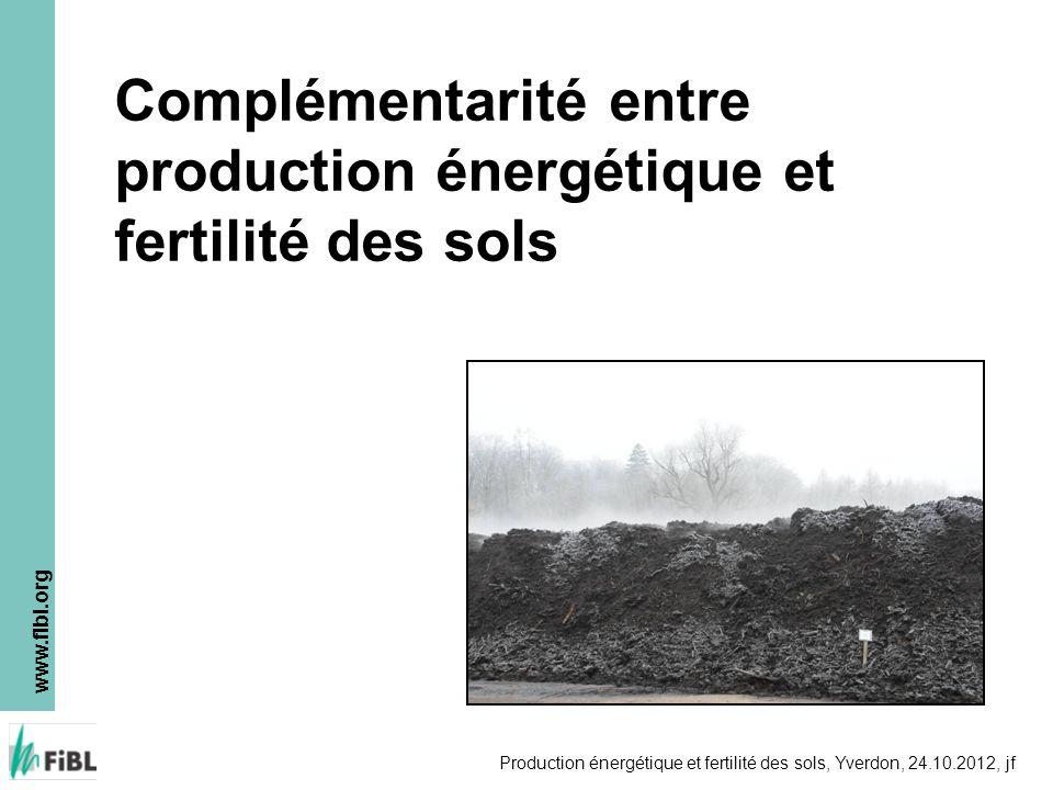 Complémentarité entre production énergétique et fertilité des sols