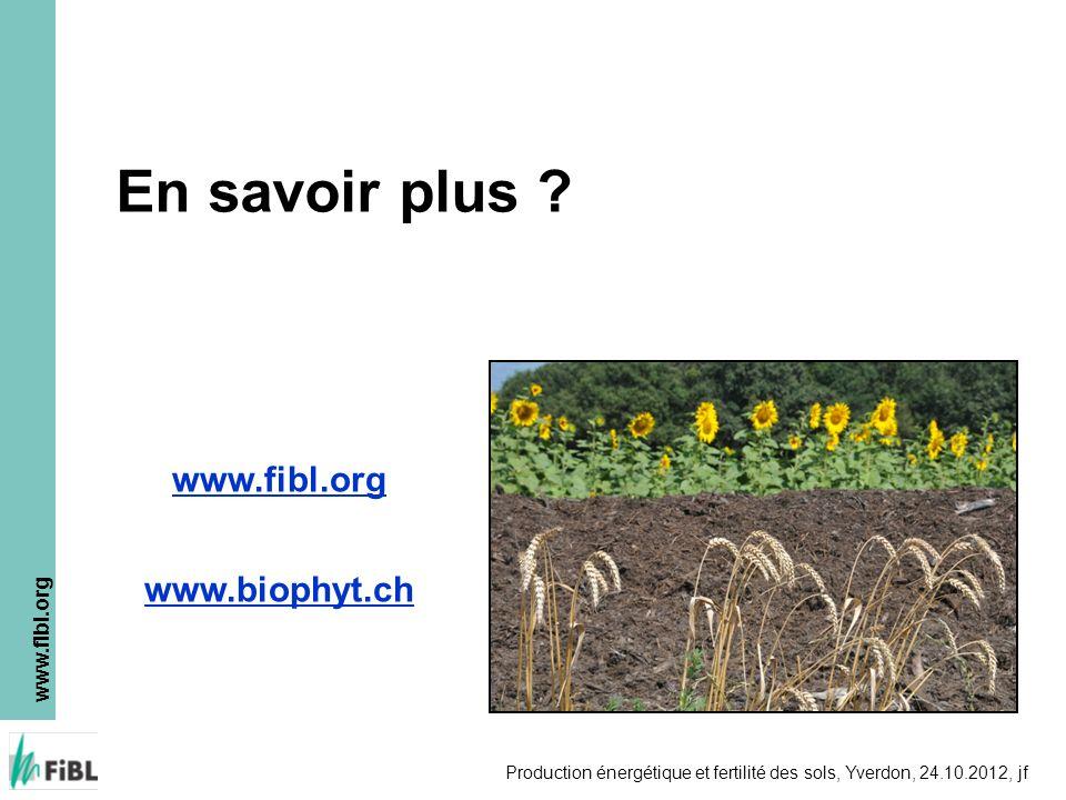 En savoir plus www.fibl.org www.biophyt.ch