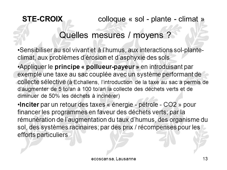 STE-CROIX colloque « sol - plante - climat »