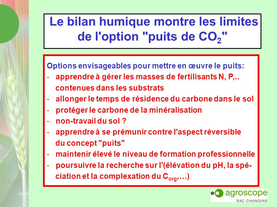 Le bilan humique montre les limites de l option puits de CO2