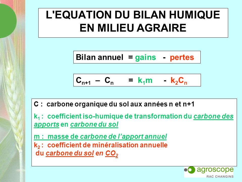 L EQUATION DU BILAN HUMIQUE EN MILIEU AGRAIRE