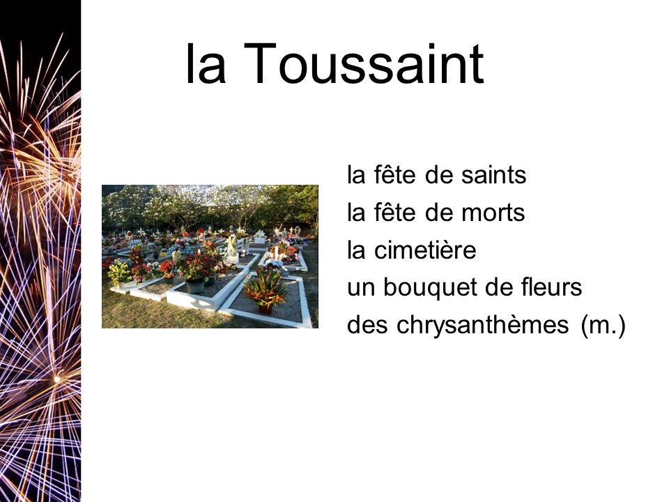 la Toussaint la fête de saints la fête de morts la cimetière un bouquet de fleurs des chrysanthèmes (m.)