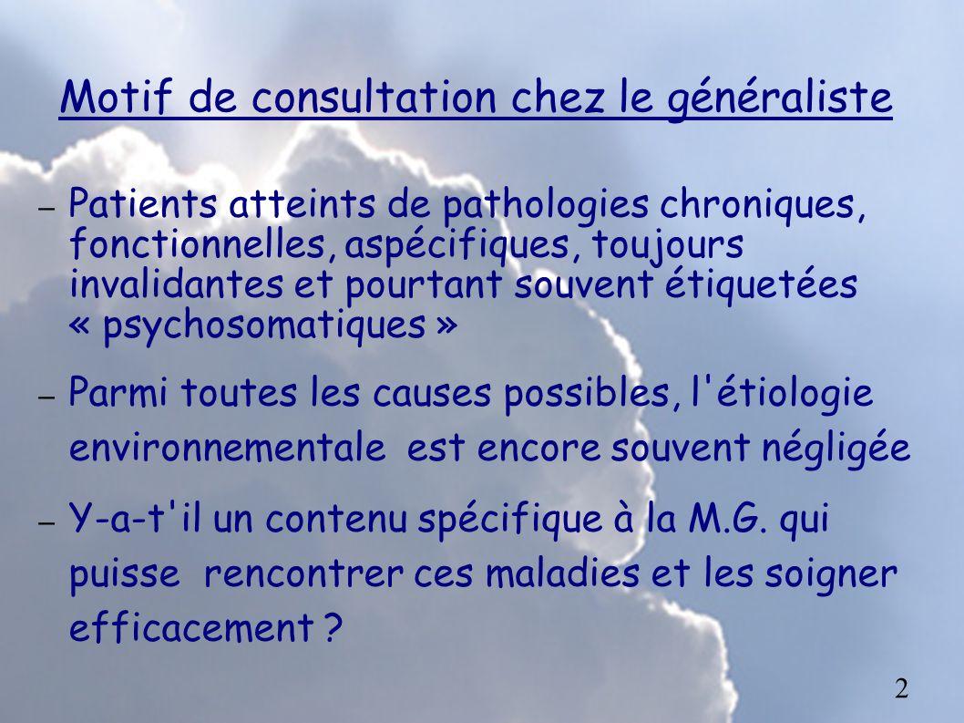 Motif de consultation chez le généraliste