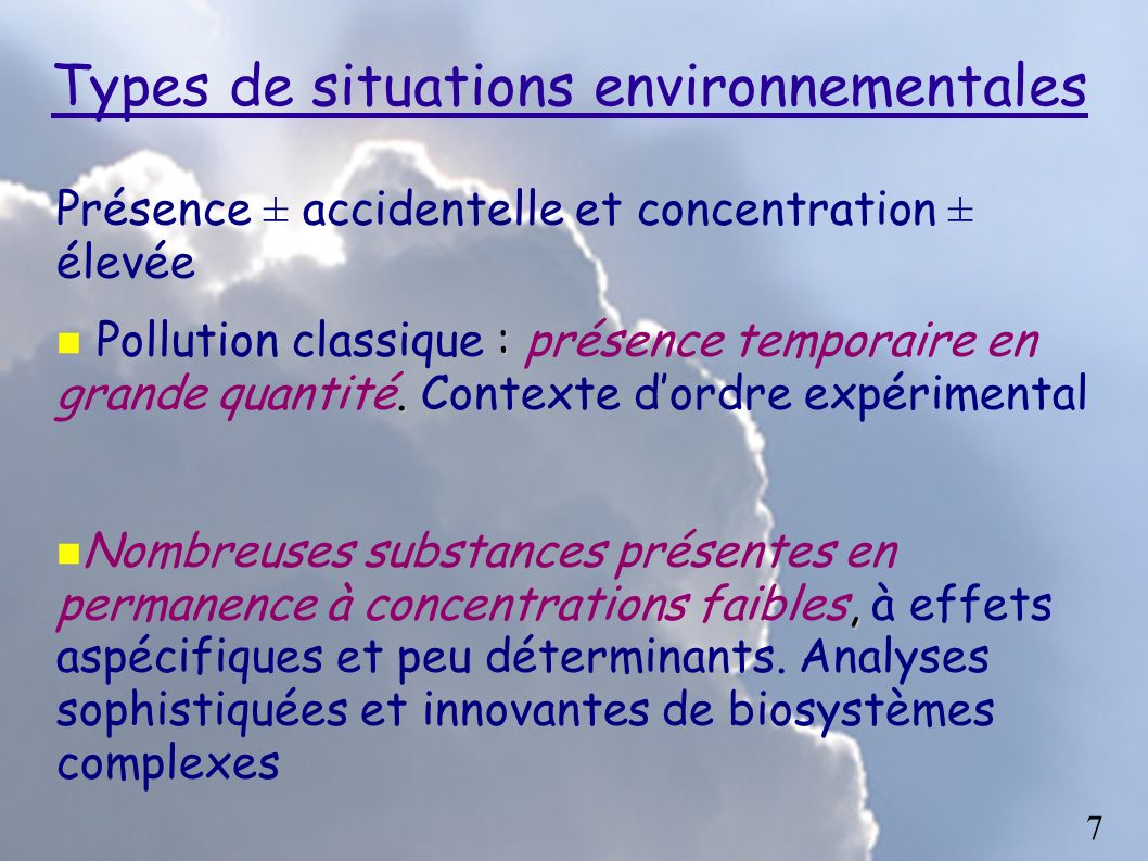 Types de situations environnementales