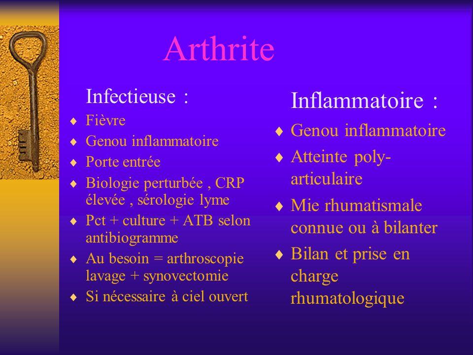 Arthrite Inflammatoire : Infectieuse : Genou inflammatoire