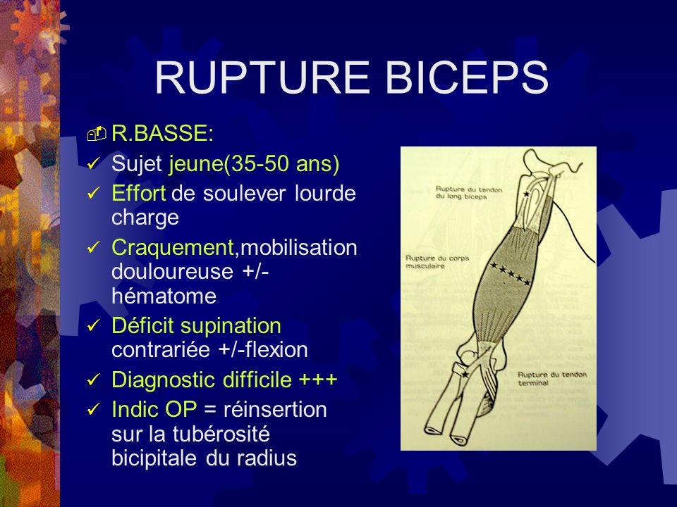 RUPTURE BICEPS R.BASSE: Sujet jeune(35-50 ans)