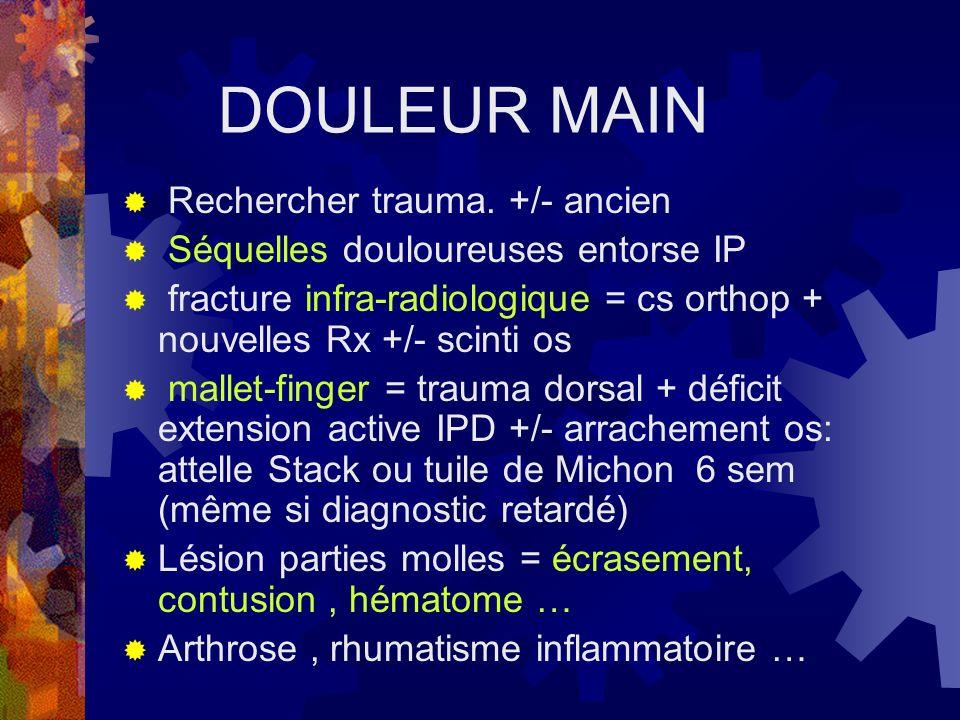 DOULEUR MAIN Rechercher trauma. +/- ancien
