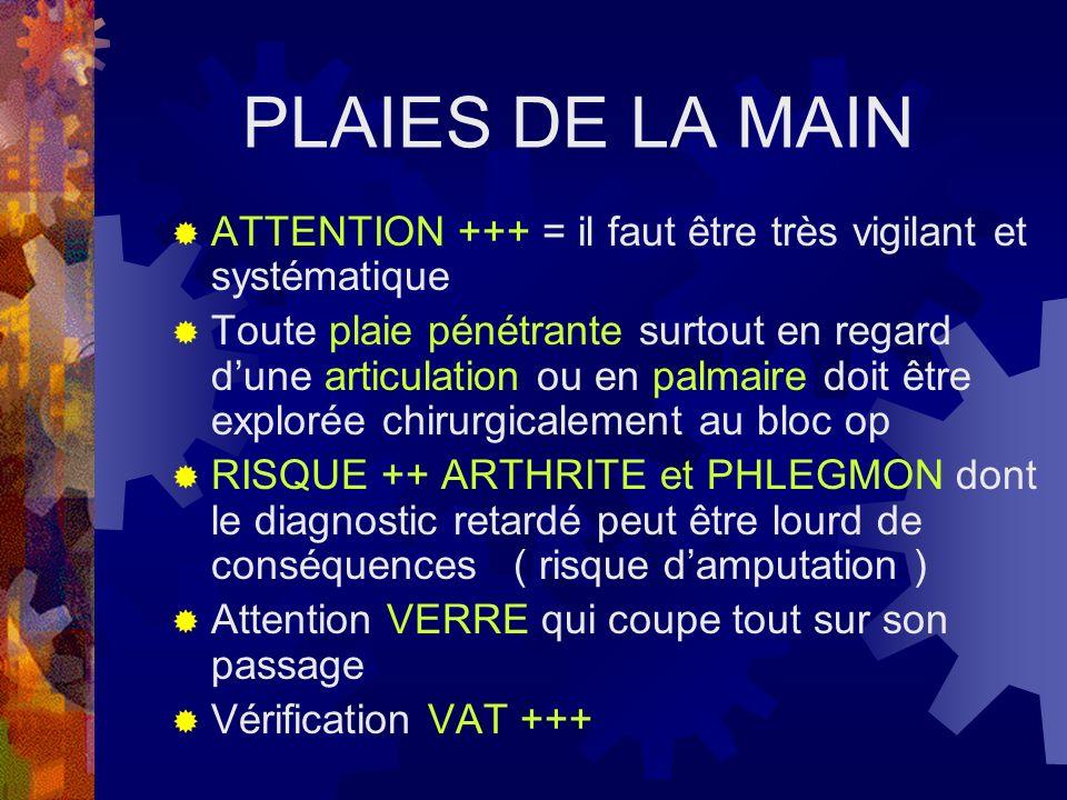 PLAIES DE LA MAIN ATTENTION +++ = il faut être très vigilant et systématique.